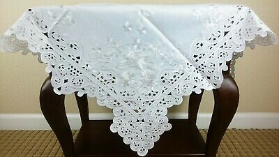 "Grant Linen 36x36"" Square White Fabric Embroidery Cutwork Tablecloth Topper"