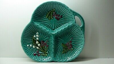 Leaf Wall Plate (ANTIQUE HAND PAINTED MAJOLICA  LEAF WALL PLATE BOWL SIGNED BASE MARIE LOUISE)
