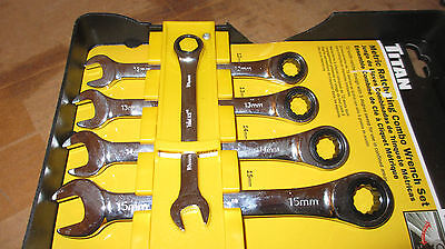 RATCHETING COMBO WRENCH SET 10mm 12mm 13mm 14mm 15mm 17363 TITAN 5 PC METRIC NEW
