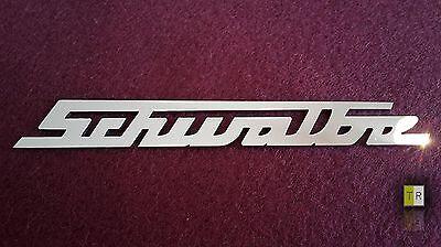EDELSTAHL Simson Schwalbe Schriftzug - Emblem - Logo poliert für Schwalbe KR51