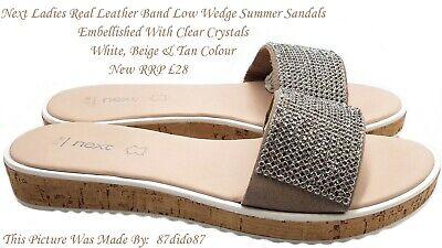 💙 Next Women Leather Strap Crystal Low Wedge Sandals Flip Flops Shoes Flats New Strap Wedge Flip Flops