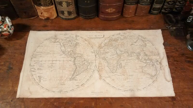 Original 1805 Rare Antique Thomas Andrews WORLD GLOBE Hemisphere Map