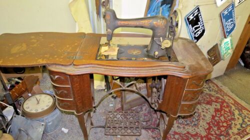 Antique Free #5 Treadle Sewing Machine & Base Stand Drawers