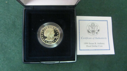1999-P PROOF SUSAN B ANTHONY DOLLAR COIN COMPLETE WITH COA!!!