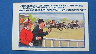 Vintage Comic Postcard 1920s Horse Racing Jockey Each Way Bet Betting Course