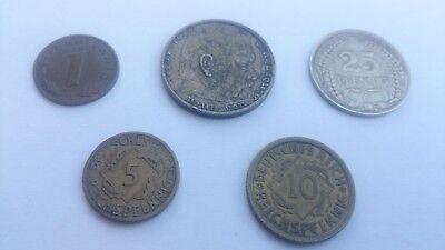 5 Geldstücke Deutsches Reich Reichspfennig 1 5 10 25 Pfennig 2 Mark Hindenburg