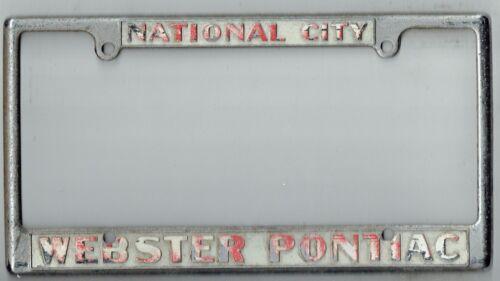 RARE National City California Webster Pontiac Vintage Dealer License Plate Frame