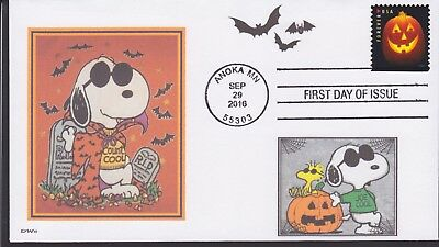 SNOOPY  HALLOWEEN  COUNT COOL  DRACULA   JOE COOL    WOODSTOCK  BATS   FDC- DWc
