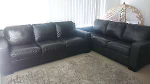 2x three seater leather lounges Warner Pine Rivers Area Preview