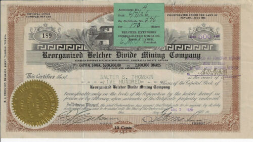 NEVADA 1920 Reorganized Belcher Divide Mining Company Stock Certificate Tonopah
