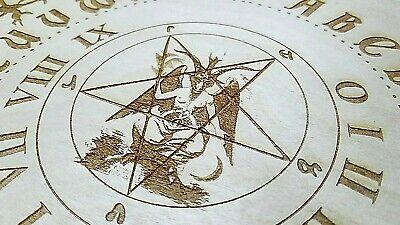 Wooden Ouija Board  Planchette With Baphomet  Pentagram Engraved on Wood
