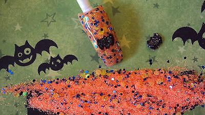 glitter mix acrylic gel nail art      HALLOWEEN MIX         * GONE BATTY *](Halloween Gel Nail Art)
