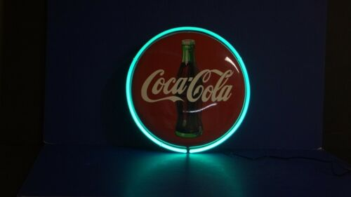 """1990 Metal Coca Cola 13"""" Advertising LIGHTED Coke Bottle Button Wall Sign -NICE"""