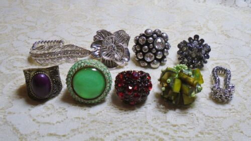 ASSORTED CHUNKY MULTI COLOR RHINESTONE STRETCH RING LOT