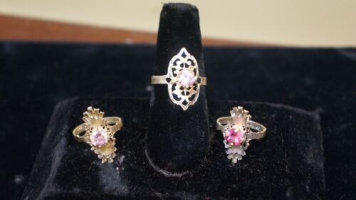 LOT OF 3 RINGS STERLING SILVER PINK STONES SIZE 7