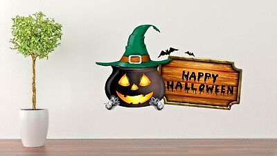 Happy Halloween Wall Decal Living Room Cauldron Wall Paper Sticker J450 (Halloween Wallpaper Live)