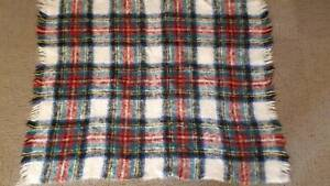 Mohair Tartan Red, Blue and White Throw Knee Rug Golden Grove Tea Tree Gully Area Preview