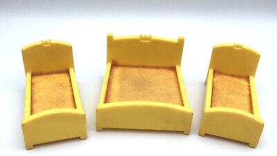 Fisher Price Little People Vintage 993 Castle YELLOW BEDS Royal Double & 2 Twin