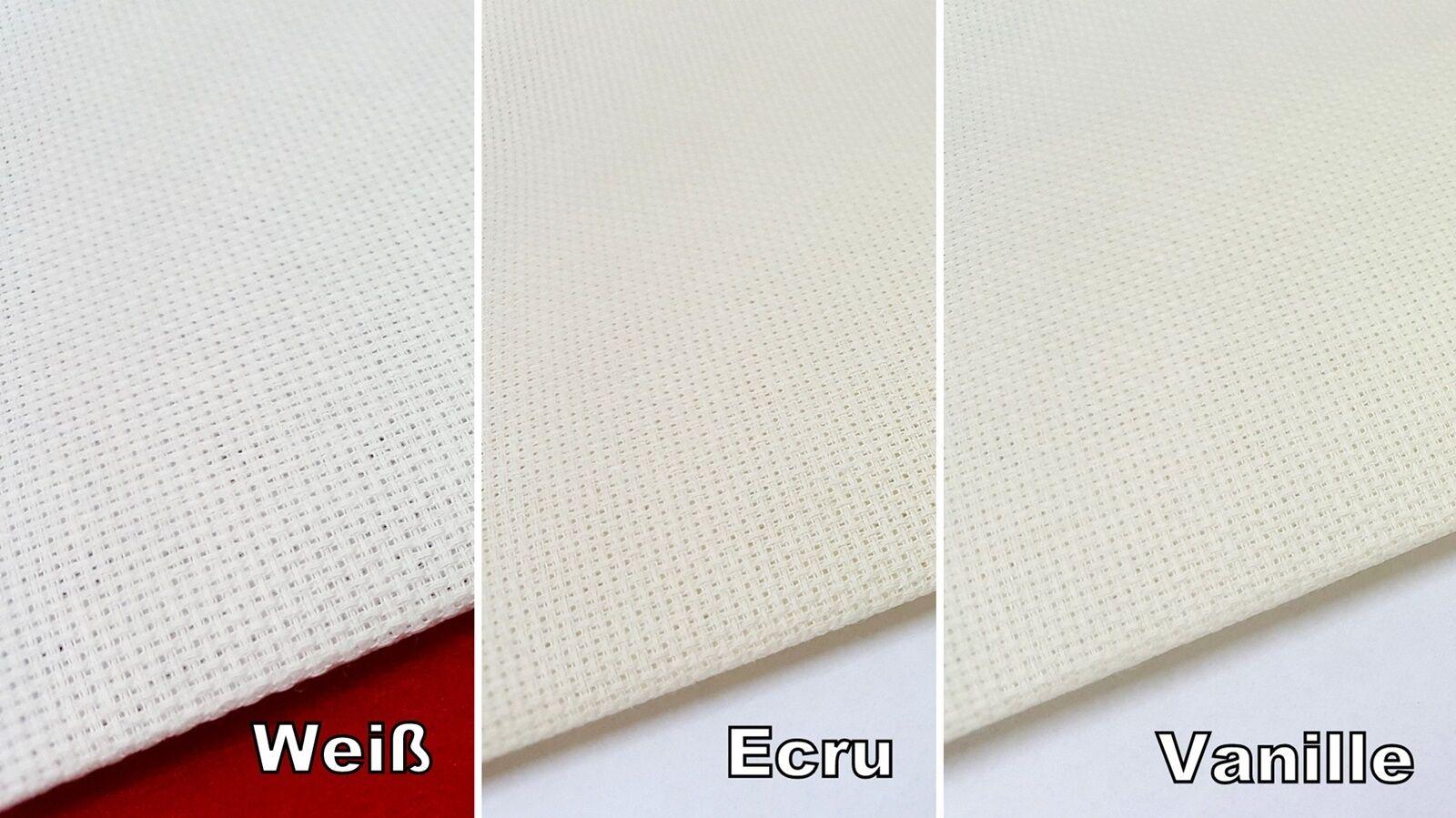 Aida Stickstoff 6,4 Stiche/cm weiß ecru Vanille 160 cm breit Meterware 19,75 €/m