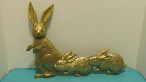Large Brass Bunny Rabbits Bunnies Wall Decor Mother Babies Easter