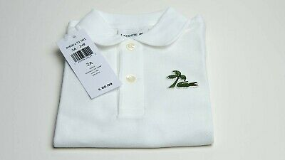 LACOSTE KIDS White Polo short sleeve shirt size 2A / 2YR Brand New with Tags