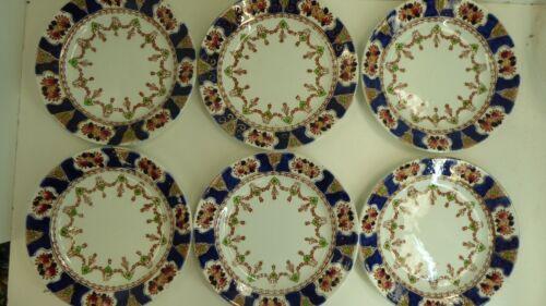ANTIQUE SET OF 6 IMARI PATTERN DORIC BREAD PLATES POTTERY CHINA ENGLAND