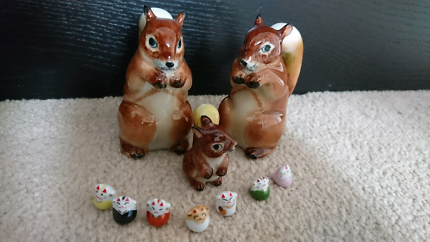 Brand new squirrel ceramic salt and pepper shaker and lucky cats