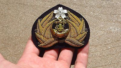 WW2 Original Imperial Japanese Bullion Naval Officer Hat Cap Badge Insignia