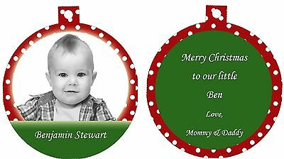 Personalized Ornament custom gift idea, Merry Christmas Baby Child Photo BW - Children's Christmas Photo Ideas