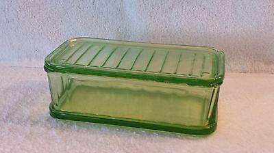 "Vintage 8.5"" Green Depression Glass Refrigerator Dish"