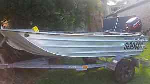 3.5m V-nose punt with 15hp 4 stroke motor, and trailer plus m Sippy Downs Maroochydore Area Preview