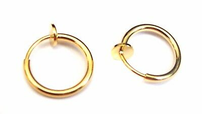 CLIP-ON EARRINGS SMALL HOOP PLATED GOLD OR SILVER TONE 0.50 INCH HALF (Half Hoop Clip)