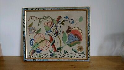A Beautiful Antique / Vintage Embroidered /Needlework Picture - LOT 6 OF 11