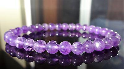 "Genuine Amethyst Bead Bracelet for Men or Women On Stretch 6mm AAA Quality 7.5"""