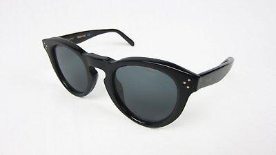 Celine CL41384 Round Sunglasses Black Frame Dark Grey Lenses Keyhole 3-Dot 47mm