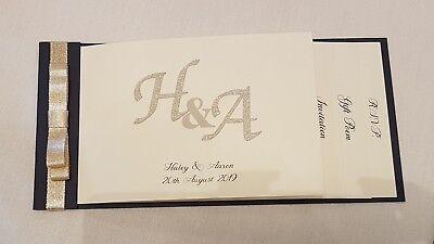 Handmade CHEQUE BOOK navy blue and gold Monogram Wedding invitations