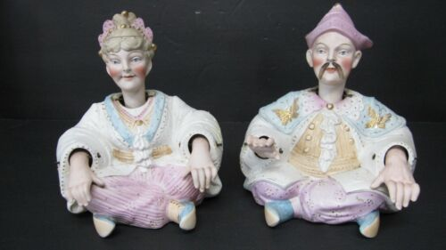 Continental Bisque Porcelain Pair Male Female Nodders Asian Chinese