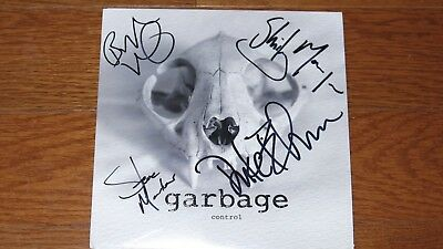 """GARBAGE 7"""" pink vinyl single SIGNED AUTOGRAPHED Control"""