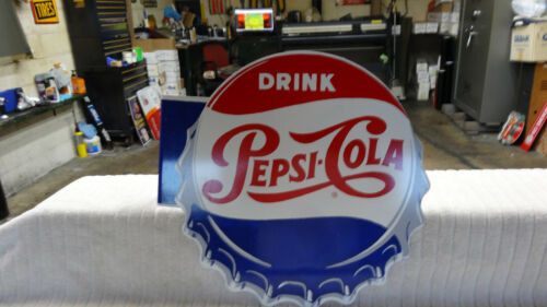 """PEPSI COLA"" DOUBLE SIDED METAL ADVERTISING FLANGE SIGN (14""x 14"") NEAR MINT"