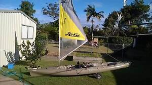 Hobie Mirage Revolution Fish with sail and outriggers Urunga Bellingen Area Preview
