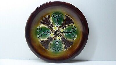 Leaf Wall Plate (ANTIQUE HAND PAINTED MAJOLICA  LEAF WALL PLATE SIGNED TO BASE )