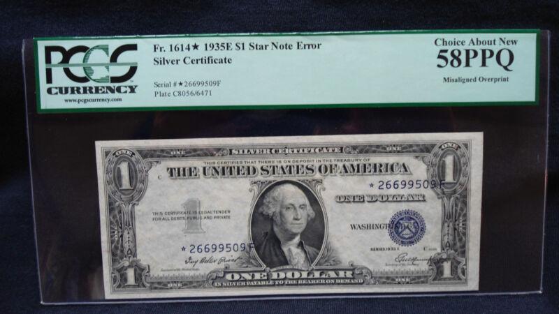 1935E $1Silver Certificate*Star Note Error PCGS Grade 58PPQ-Misaligned Overprint