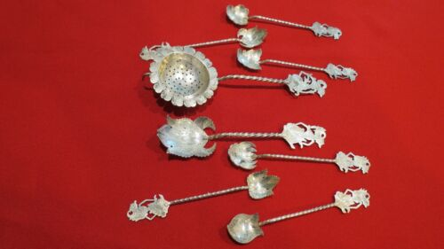 Yogya 800 Silver Indonesian Wayan Tea Strainer Sugar Spoon Teaspoons