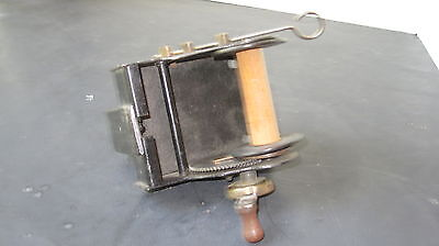 Antique Bates Metal, Brass and wood Table Edge Thread Winder