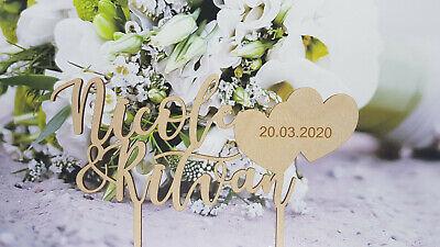 Caketopper Wunschnamen Brautpaar Herz Hochzeit Braut Bräutigam Tortenstecker