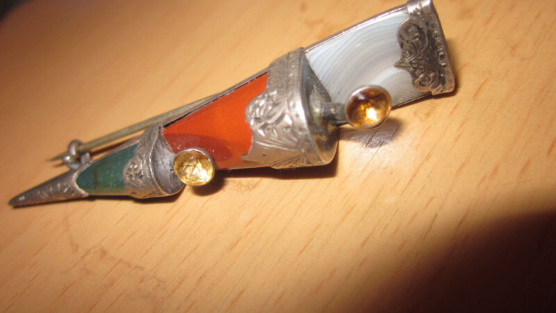Antique Scottish Silver and Agate Kilt Pin