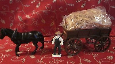 Black Metal Horse Pulling  Brown Wagon with Farmer   (AB316GC)