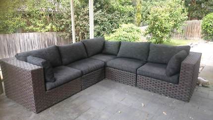 Lior Wicker Outdoor modular lounge with BNIB Ottoman