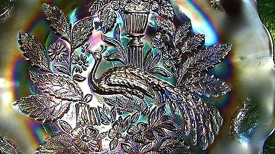 Millersburg Peacock and Urn Bowl Amethyst Carnival Glass Antique
