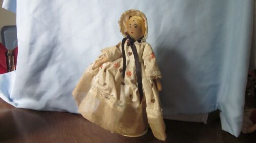 """Vintage Antique Wooden Doll with stand 8"""""""